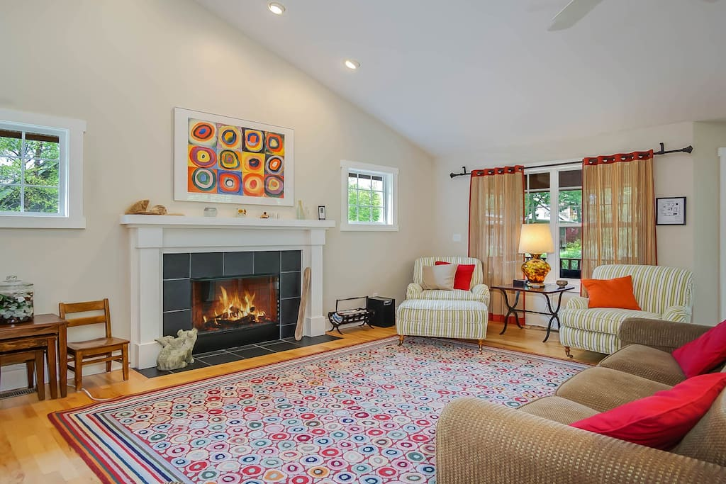 Warmly decorated and even warmer with a gas fireplace.