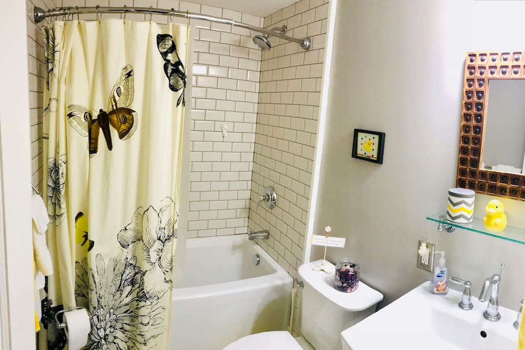 A recently renovated 3-piece bathroom attached to Miles' Room.