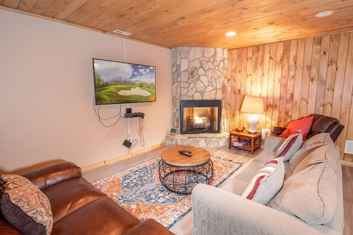 Game Room and Den with Tongue-in-Groove Ceiling and Accent Wall