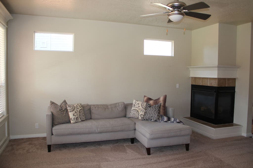 Living Room seating and Fireplace