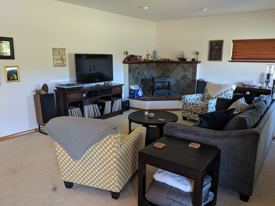 """Brand new queen sleeper sofa and chairs. Plus 55"""" 4k TV."""