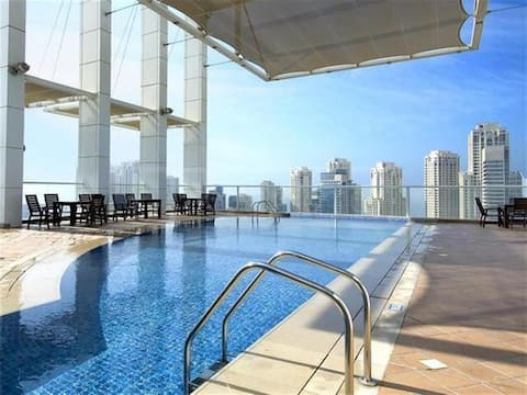 Marina Beautiful 2BR Bright Apartment Rooftop pool