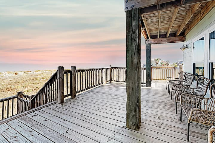 Gulf-Front Home with Private Boardwalk & Huge Deck