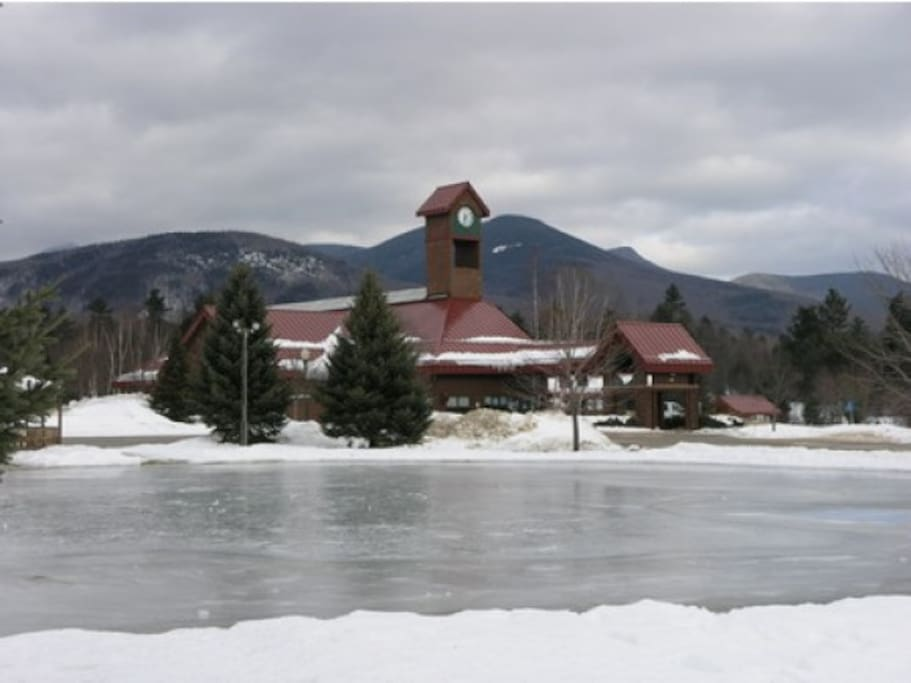 Recreation Center with view of man-made ice skating pond in front