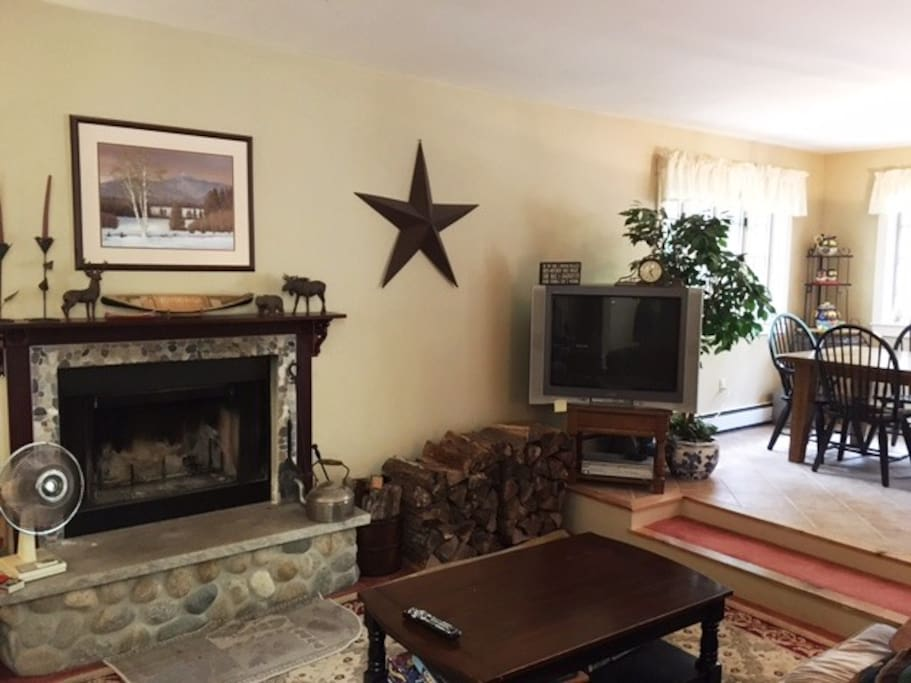 1st floor family room, with wood fireplace