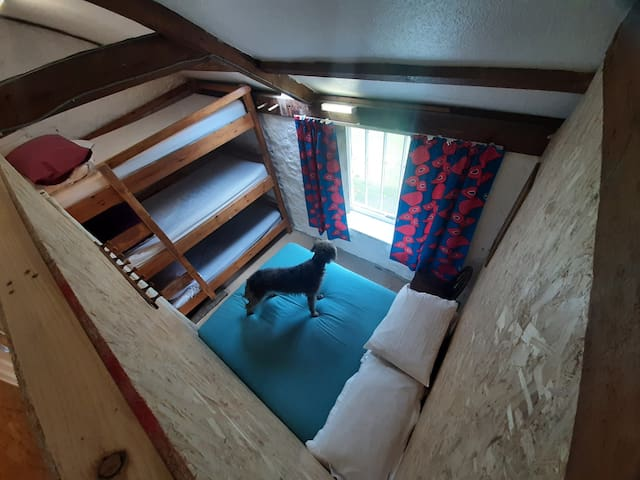 Then dorm is seperated by 8ft partition walls. This 'room' has a double bed and a 3 bunk.