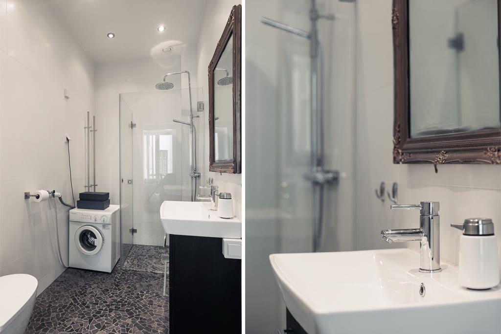Elegant bathroom with washing machine
