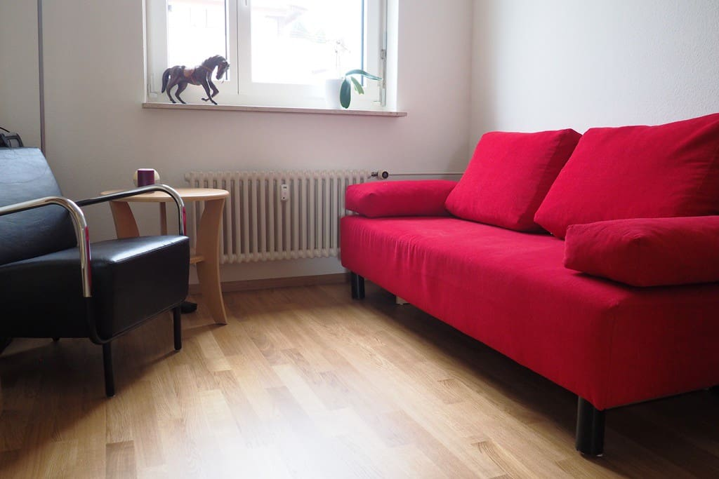 Your comfy room. Sofa can be pulled-out to accommodate comfortably two people.