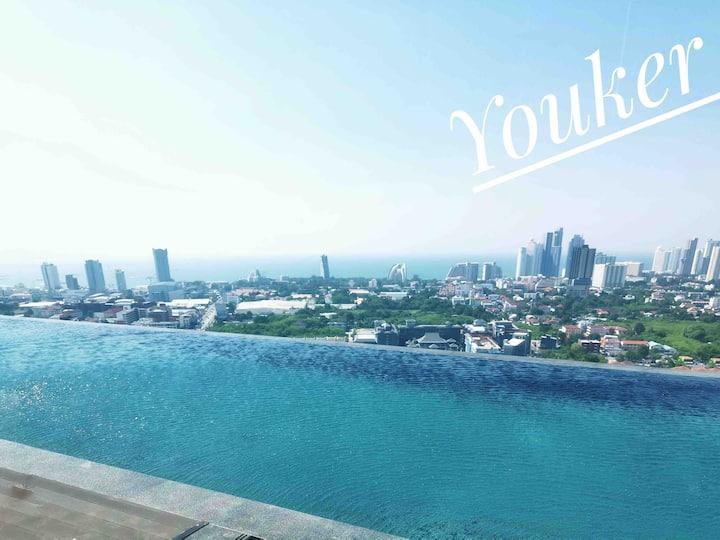 Youker#Pattaya posh精装酒店式公寓,高楼层,无边泳池,全明落地窗开间