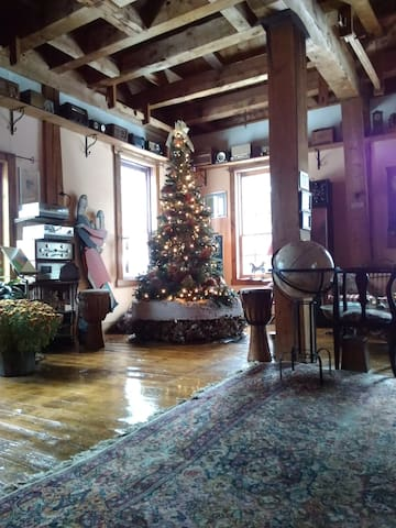 Our holiday/solstice grist mill grinding stone tree of lights is up.  Our tallest display ever !