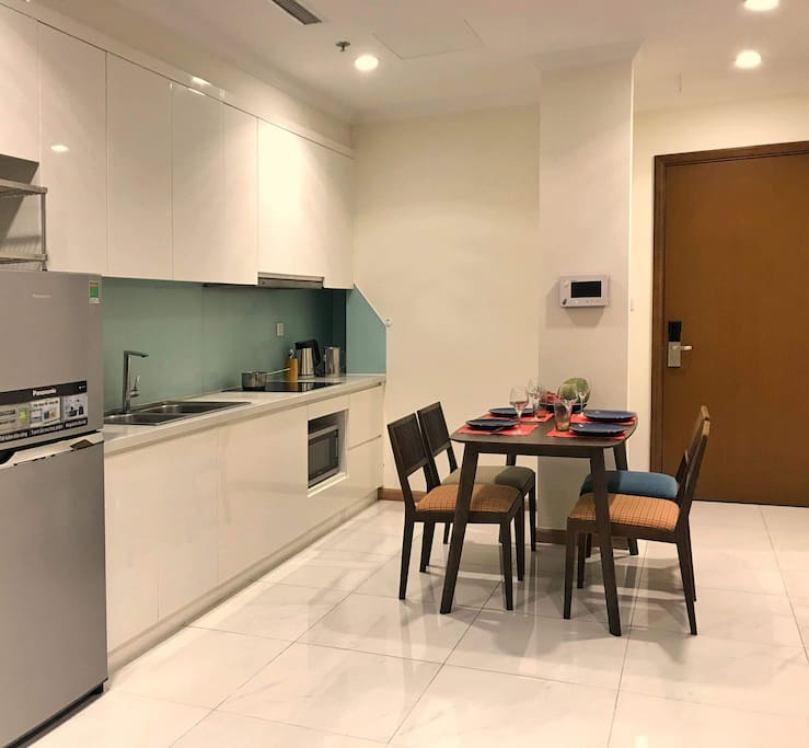 Accessible kitchen with basic appliance.