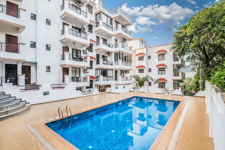 Elegant 1 BHK with a pool, in a gated society
