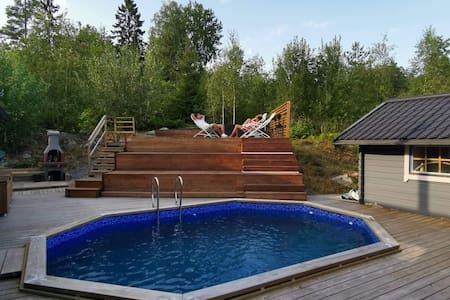 Big swedish family house with pool and sauna