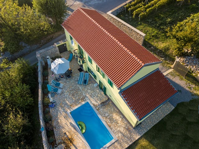 Villa Žaneta with pool protected from view