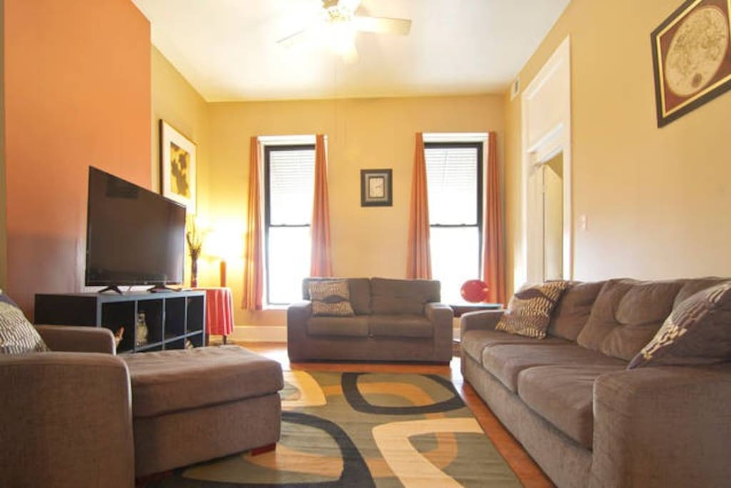 Comfy sofa, loveseat and chaise will make you feel at home. (Downstairs)
