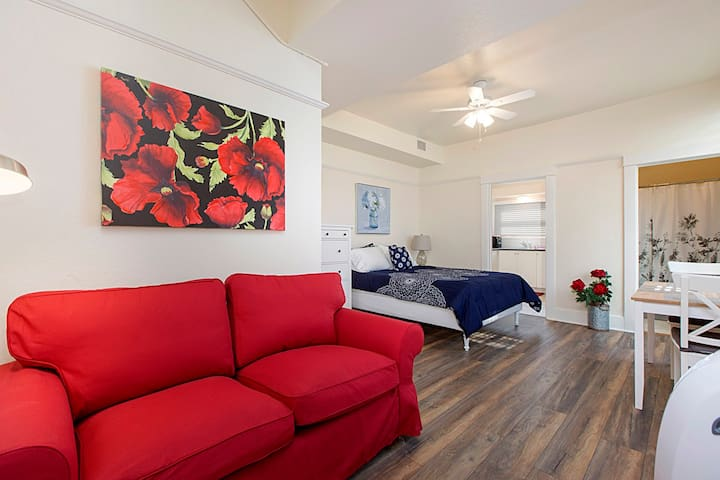 Queen bed and loveseat in your own small apartment
