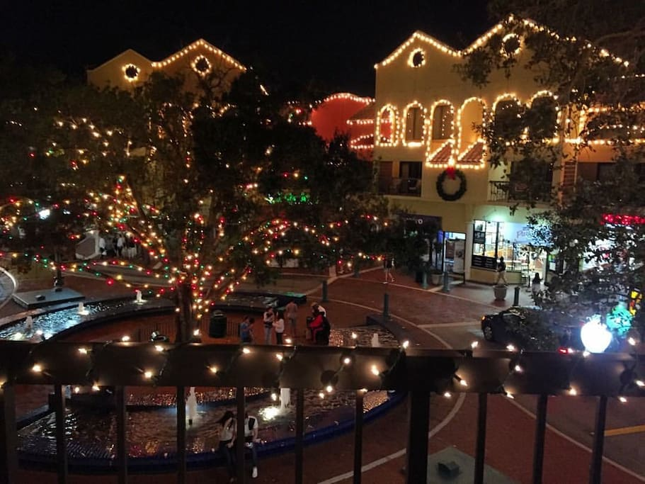 Incredible view over Main Street shops from the balcony at night!