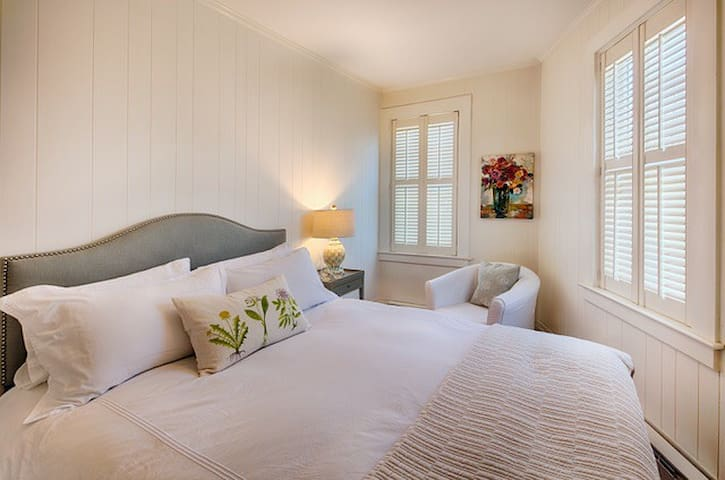 Lovely bedroom with nice lighting and roomy closet space