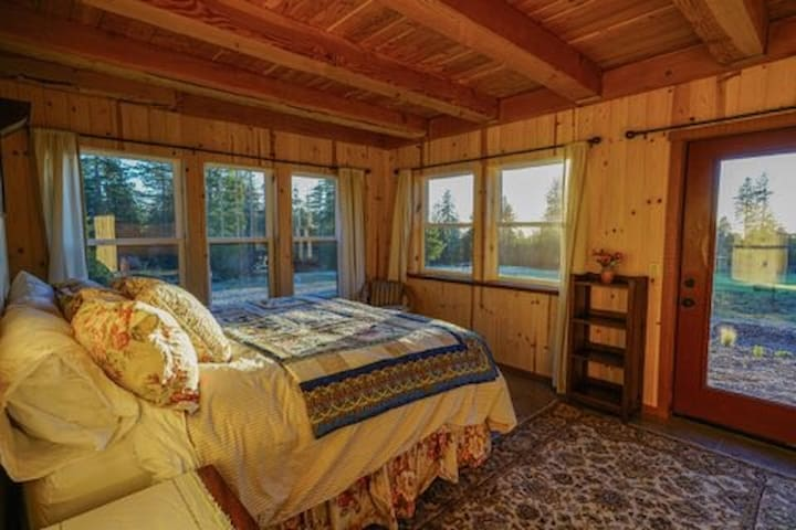 Downstairs king bedroom. Views of stars out of every window. Down comforter and home made quilt my mom made on the bed.
