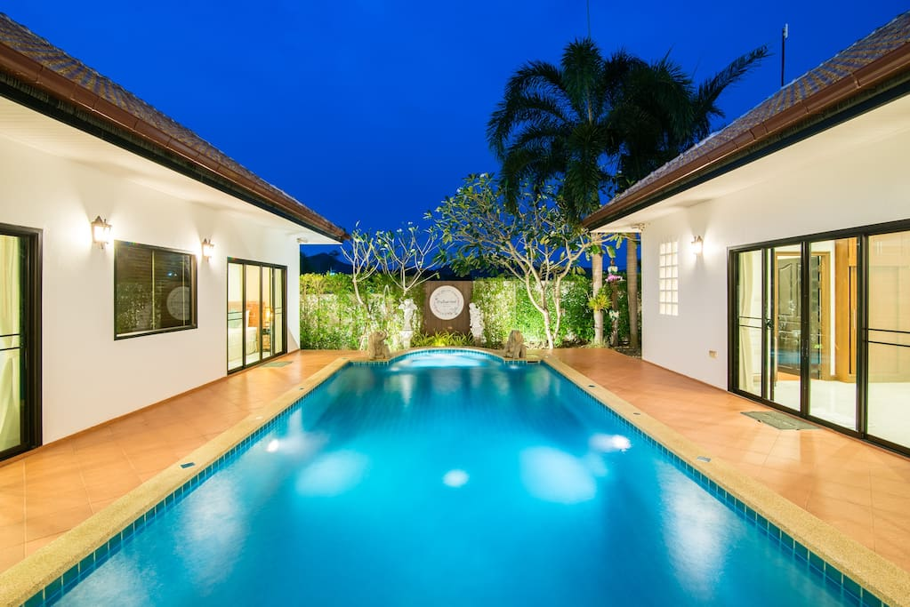 Private pool and the bedrooms are close to the pool