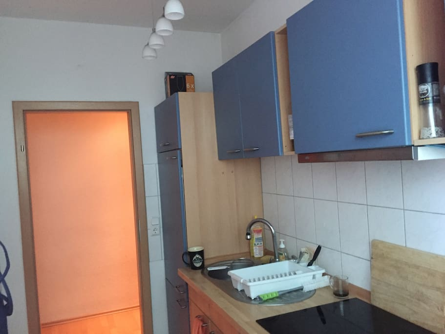 There is a fully equipped kitchen, with a microwave, a kettle, oven, etc.