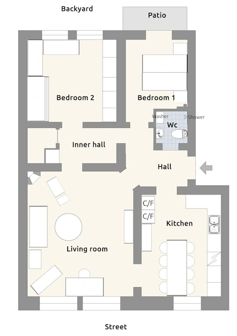 Apartment plan - the kitchen and livingroom facing a calm street with little traffic - the bedrooms are facing a quiet back yard.
