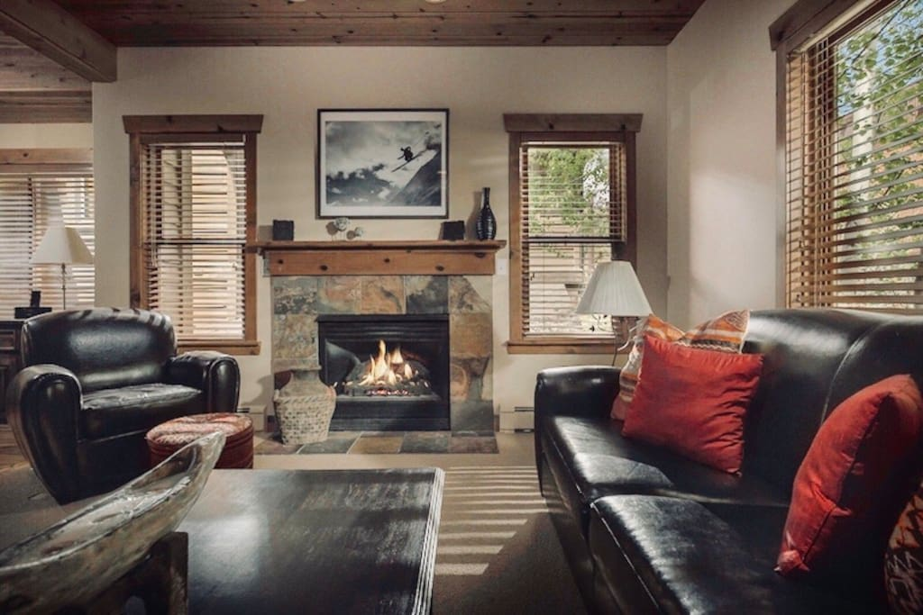 This beautiful living room is only a 7 minute walk to historic Main Street, and all its restaurants, shops and theaters.