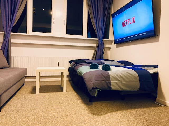Central Furnished Studio+Bikes Netflix & Big Tv