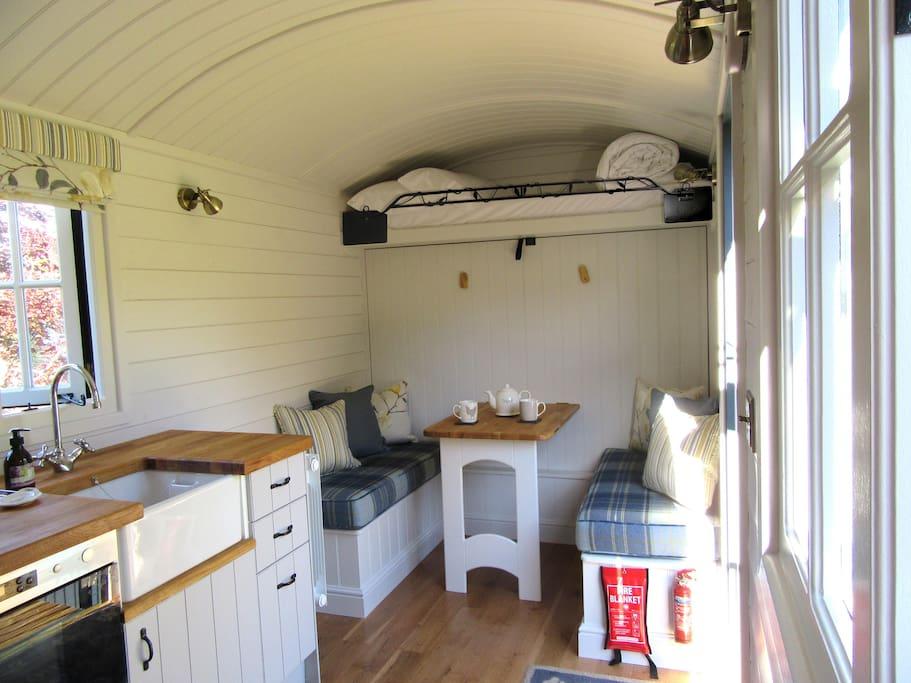 Interior shot of Shepherd's Hut