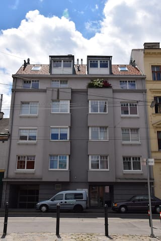 second floor, left two windows