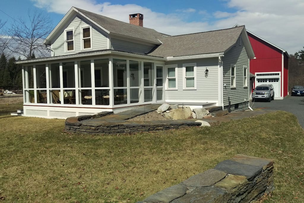Exterior stone walkway and ramp access.