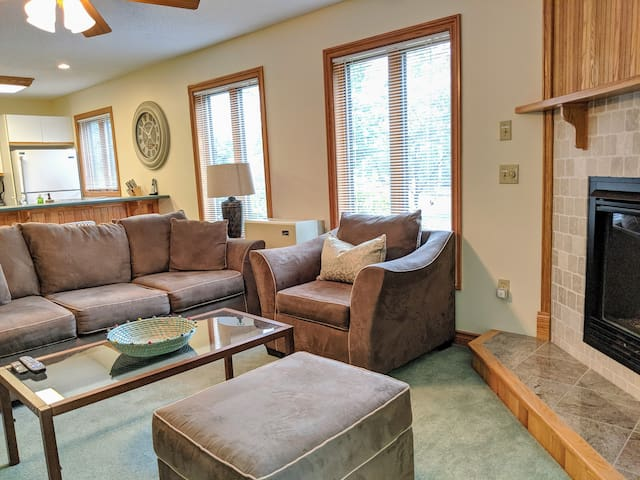 """Relax in style with friends and family, beautiful outdoor views, open concept breakfast, gas fireplace, large 55"""" smart TV with cable and wifi"""