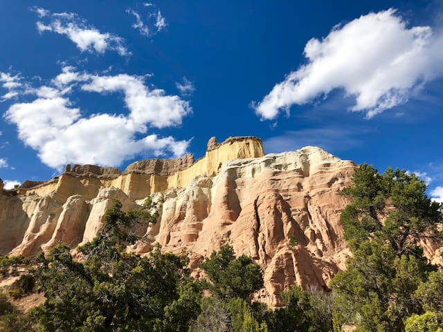 "One of our favorites, the stone cliff wall know as the ""Echo Amphitheater"" in Abiquiu."