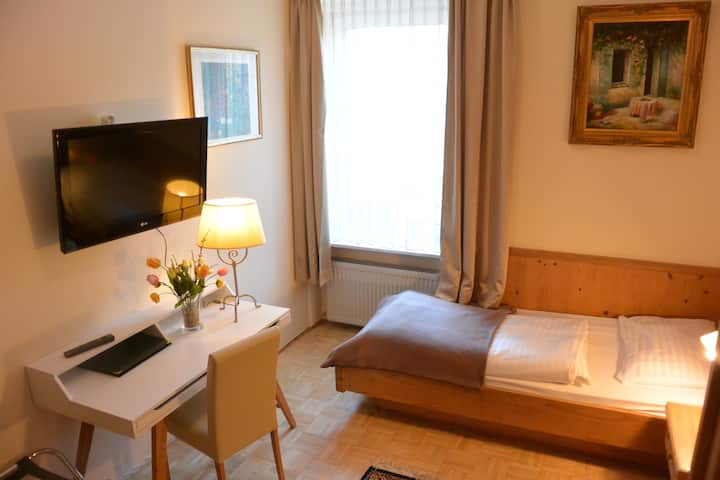 A Twin-Double with Breakfast in our B&B near Salzburg main station and Old Town