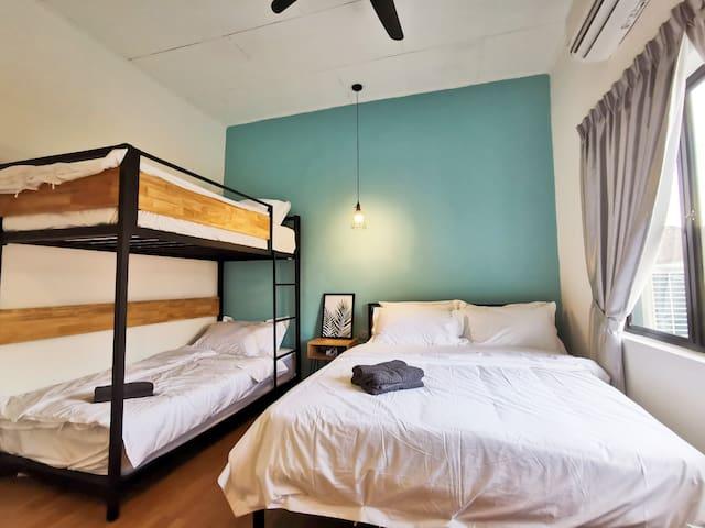 Interior of Room 2: 1 Queen Bed & 1 Bunk Bed