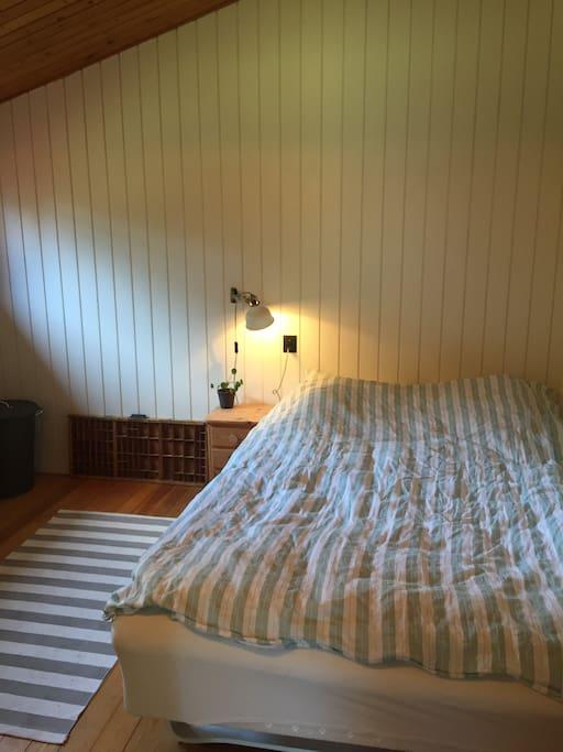 Soveværelse med skabsplads.