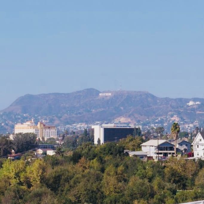 The view of the Hollywood sign from your living room. I guarantee you will be star struck with these views!!!!