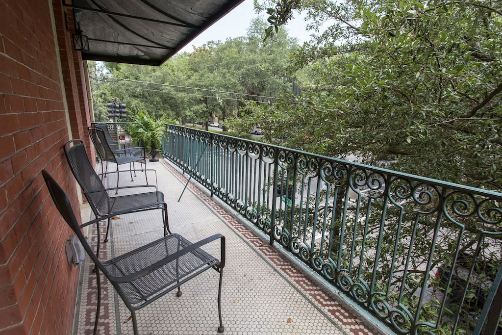 The private balcony has room for everyone.