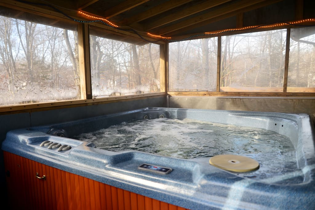 6 person hot tub located on 2nd floor deck. Enclosed
