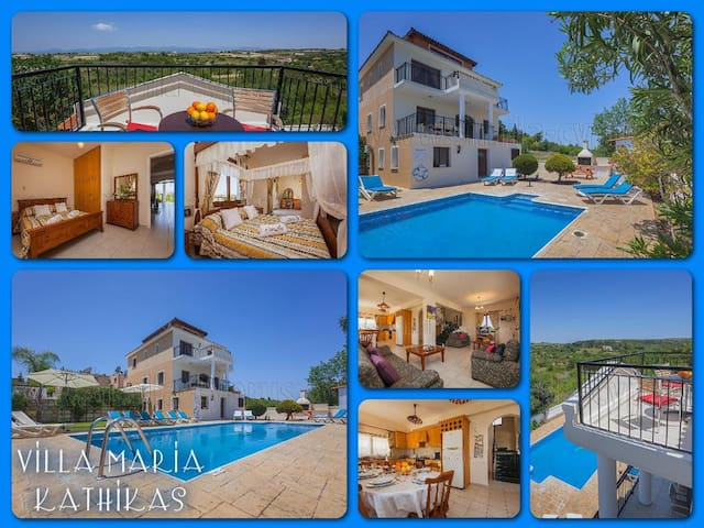 Villa, Mountain Views, Large Pool & Garden - Kathikas - Villa