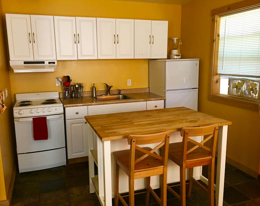 Fully equipped kitchen with everything you need, just bring your groceries!  Coffee and tea complimentary!
