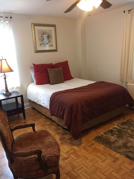 Inviting bedroom with tv an walkin closet
