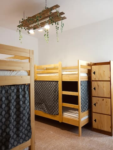 Bed in a 4 bed shared dorm with private bathroom