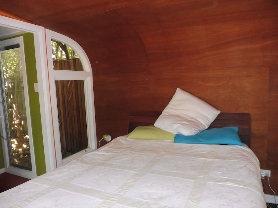 Lovely, light, timber clad roomy double bedroom.