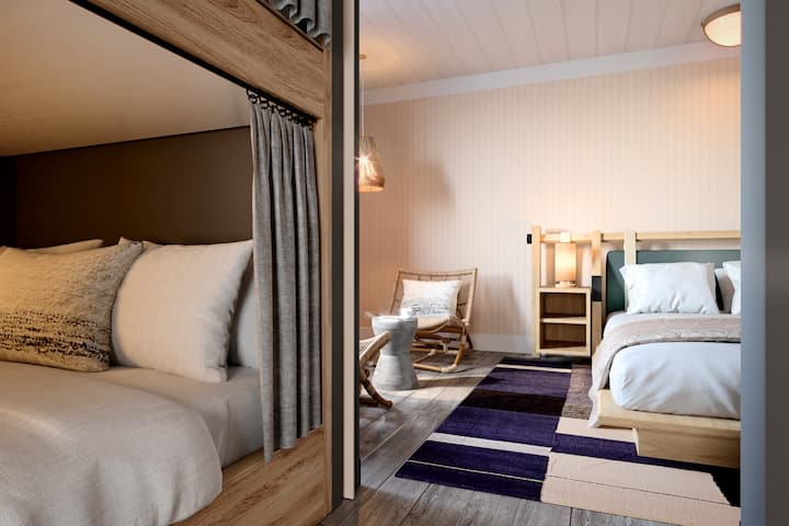 King and 4 Lofted Bunks in Boutique Hotel