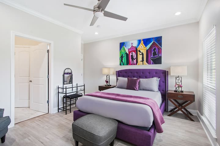 The Master bedroom has a plush mattress, soft linens, private balcony & bathroom with walk in shower and tub!