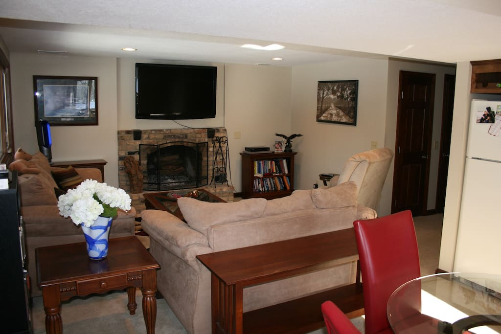 "Updated Family Room, with fireplace and 55"" TV"