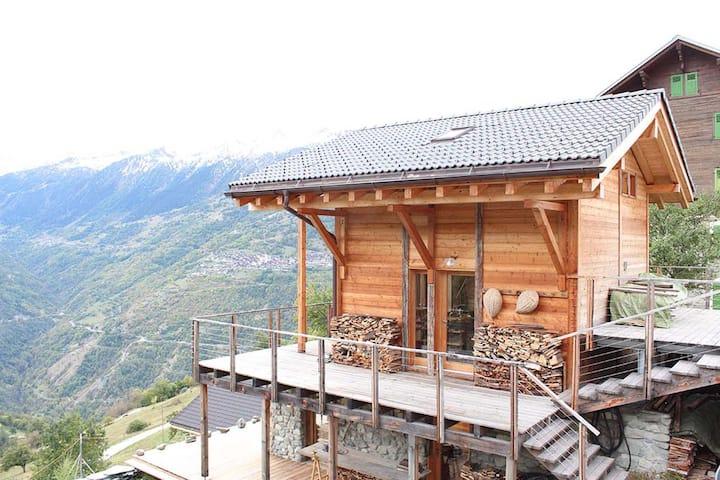 MASE Chalet, village, terrasse avec vue, Valais