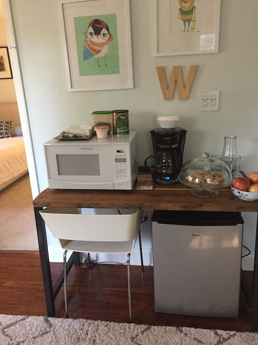 A kitchenette with everything you need to keep yourself fueled during your stay... including home made cookies and freshly ground coffee!