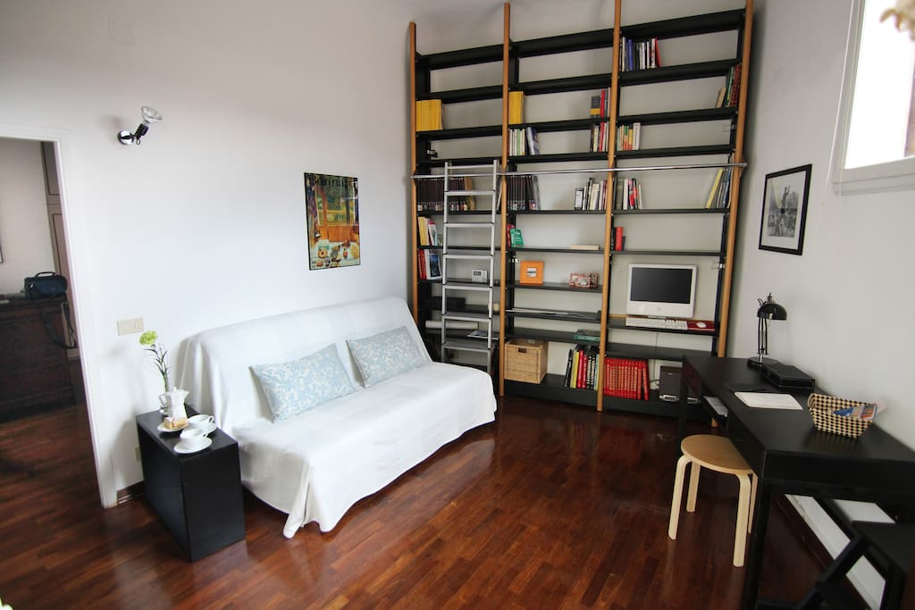 The living room with the sofa bed